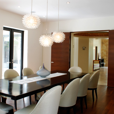 Dining Room on Modern Dining Room With  Black Table White Chairs And  Wood Floor With